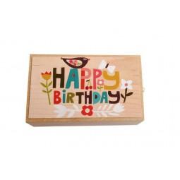 """Caja de music de madera con cajon, toca la melodia """"Happy Birthday"""""""