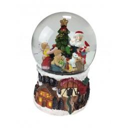 Bola de nieve con Papa Noel y arbol de Navidad