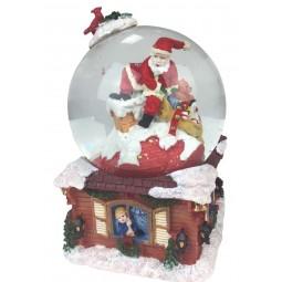 Bola de nieve con Papa Noel entrando por la chimenea