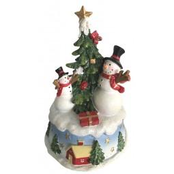 Caja de musica con muñecos de nieve y arbol de Navidad