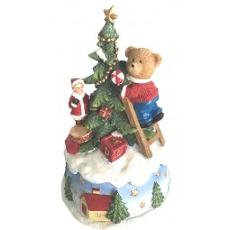 Caja de musica con arbold de Navidad y oso adornando