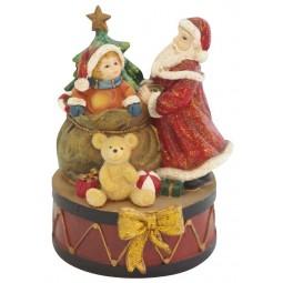 Caja de musica con Papa Noel y niño
