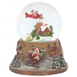 Bola de nieve con Papa Noel volador