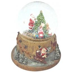 Bola de nieve con Papa Noel, arbold de Navidad y tren