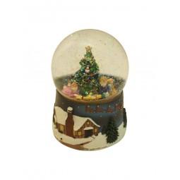 Bola brillantina con niños y arbol de Navidad