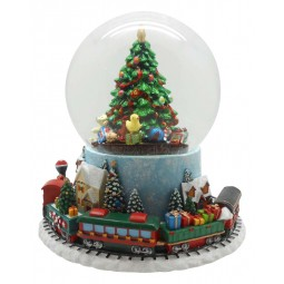 Bola de nieve con arbol de Navidad y tren