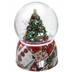 Snow globe fir-tree red