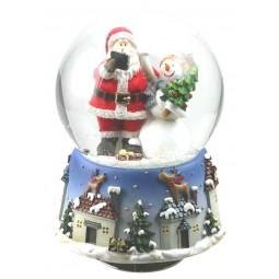 Snow globe Santa with snowman