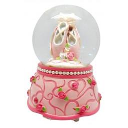 Bola brillantina en rosa con zapatillas de ballet