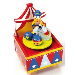 """Caja de musica de madera """"circo"""""""