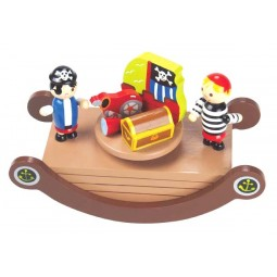 "Caja de musica balancin de madera ""piratas"""