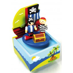 Caja de musica de madera con piratas