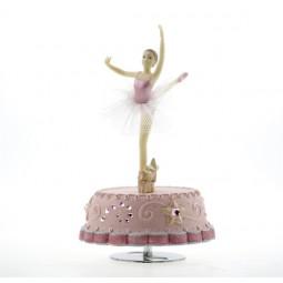 Caja de musica en rosa con bailarina