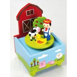 "Caja de musica de madera ""granja"""