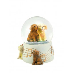 Bola de purpurina 100 mm con 2 perros