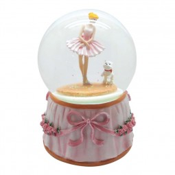 "Glitter globe ""ballerina with dog"""