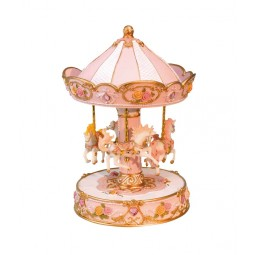 Rose- and white-coloured carousel