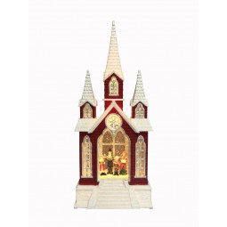 "Musicbox ""Church with glitter globe"""