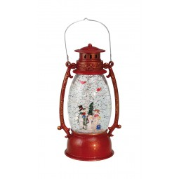 "Musicbox ""Red lantern with glitter globe"""