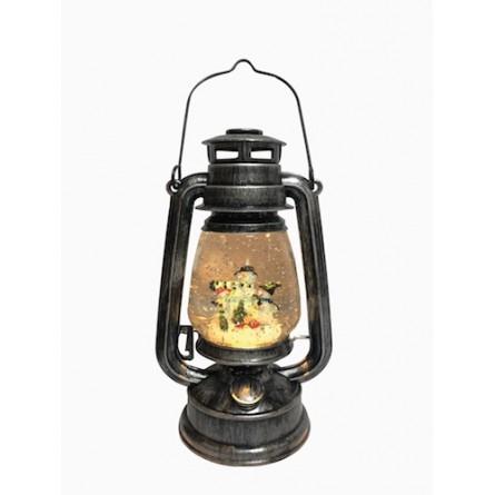 "Musicbox ""black lantern in metal-look with glitter globe"""