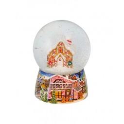 Snowglobe, porcelain base, gingerbread house