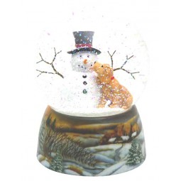 Snowglobe, porcelain base, snow man