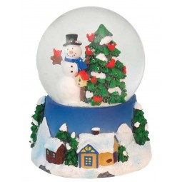 "Snowglobe ""Snowman with cardinals"""