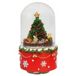 "Oval Snowglobe ""Christmas-tree scene"""