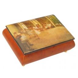 Caja de joyas de madera con una escena de balle
