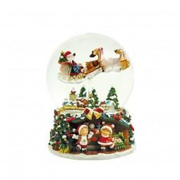 Bola de nieve 150 mm con el Santa volador y el trineo