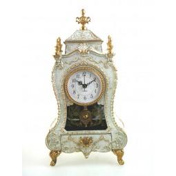 Reloj de chimenea blanco antiguo con cajón
