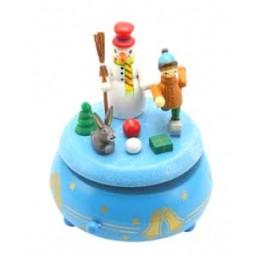 Weihnachtsspieluhr mit Schneemann und Kind