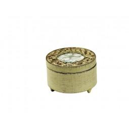 Joyero redondo blanco de madera, estilo antiguo