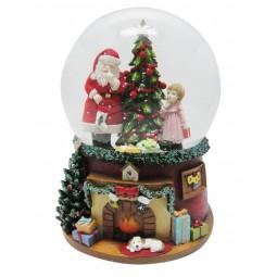 Papa Noel y una niña y arbol de Navidad