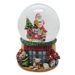 Bola de nieve Santa Claus y niño