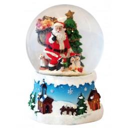 Bola de nieve Papa Noel con pingüinos