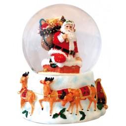 Bola de nieve con Papa Noel en la chimenea