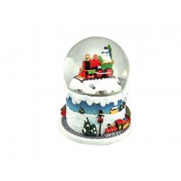 Bola de nieve con tren y muñeco de nieve