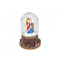 Bola de nieve Papa Noel con baston