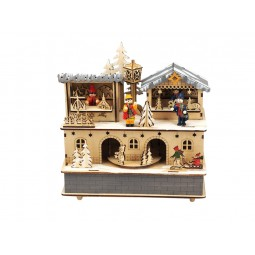 """Caja de musica de madera """"mercado navideño"""""""