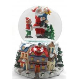 Bola de nieve con Papa Noel y chicos
