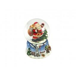Bola de nieve azul con Papa Noel