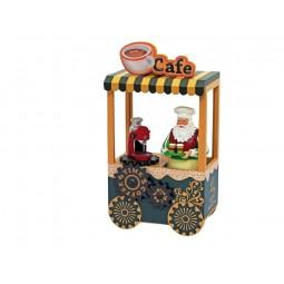 Carrito de cafe de Papa Noel